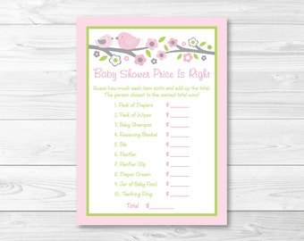 Pink Bird Price is Right Baby Shower Game / Bird Baby Shower / Pink & Grey Bird / Baby Girl Shower / Printable INSTANT DOWNLOAD A349