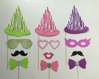 Party Hats Birthday Photobooth Props Holiday Photo Booth Props Photo Props Set of 12