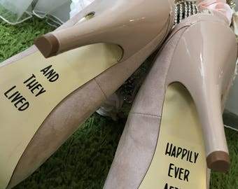"Wedding Shoes ""And they Lived Happily Ever After"" Decal/Stickers"