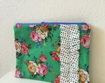 Floral Zipper Pouch/ Makeup Bag