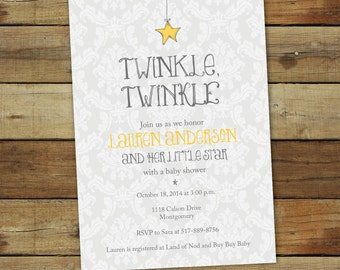 Twinkle twinkle little star baby shower invitation, baby boy, girl or gender neutral