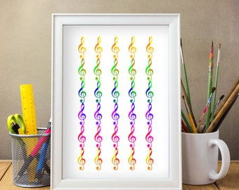 Colourful Treble Clef / Musical Clef A4 Poster