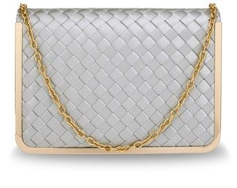 Beautiful Anna Grace Silver Flap Evening Clutch Bag