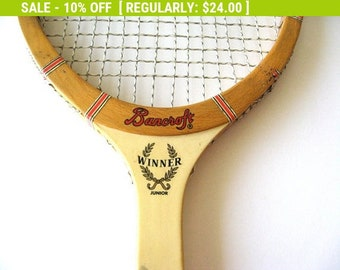Vintage BANCROFT Wiinner Wood Tennis Racquet 4 1/4 Leather Grip Gut