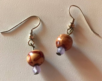 Wooden Sparkle Design Earrings