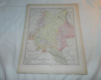 Russia / German Empire Maps from 1892 New Popular Atlas of the World -1 Book Page Ready to frame - Vintage Collectible Ephemera art   31-159