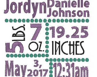 Gender Neutral Birth Announcement Embroidery Design. 4x4- Available in: pes, dst, hus, jef, vp3, vip, xxx.