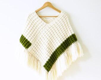 Chunky Vintage Fringed Poncho Shawl / Vintage Cozy Knit Shawl in Olive and Ivory / Warm Crocheted Boho Shawl