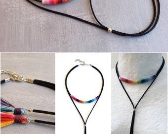 Bolo Tie Necklace, Rainbow Bolo Choker, Bolo Necklace, Bolo Tie Choker, Black Suede Bolo Necklace, Long Bolo Necklace, Tassel Bolo Necklace
