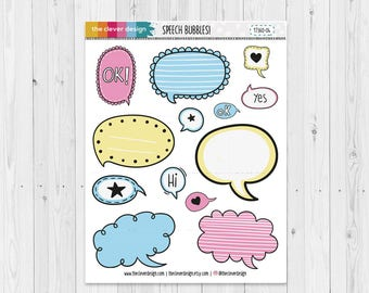 Hand Drawn Speech Bubbles | Planner Stickers | 17360-04