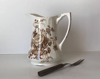 Ironstone Pitcher * Alfred Meakin * Charlotte * Brown Transferware * Brown and White * Floral * Staffordshire England * Water Pitcher