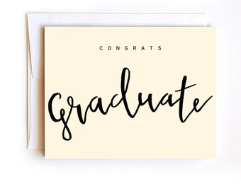Congrats Graduate Card - Hand Lettered Graduation Card - White Envelope with Confetti - 2016 Graduate