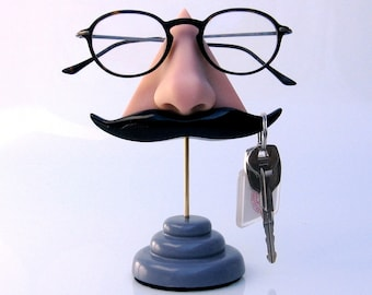 Handlebar Mustache Eyeglass Holder, Key Hook, Desk Accessory, Husband gift, Boyfriend gift, Dad Gift