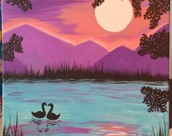 Swans in moonlight