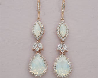 Crystal Bridal earrings Wedding jewelry Crystal Drop Bridal Earrings White Opal Jewelry Swarovski Crystal Wedding earrings Bridal jewelry,