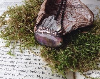 purple labradorite, labradorite, quartz pendant, crystals, electroformed jewelry, copper pendant, unique gift, purple, spiritual jewelry