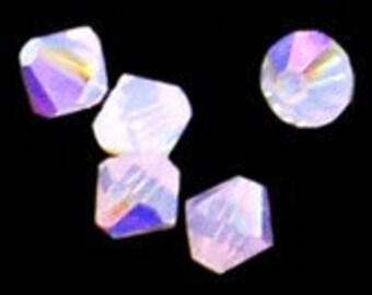 24pc - 4mm Swarovski Crystal Rose Water Opal AB BiCone Spacer Beads Style 5301 aka 5328