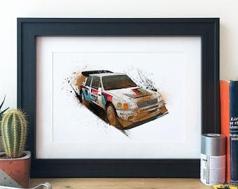 Peugeot 205 Group B Rally Car Illustration