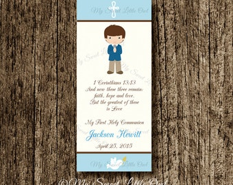 First Communion Bookmark favor - Holy Communion party favor - First Communion label boy - blue bookmark first communion