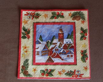 Towel paper on the Christmas theme, landscape of snow, Holly, tree, stars