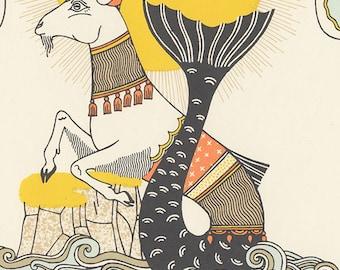 capricorn astrology silkscreen