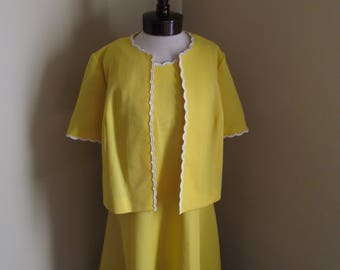 Vintage 1960s Sunshine yellow shift dress and matching jacket