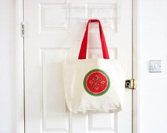 Watermelon Canvas Tote Bag/ Fruity Tote Bag/ Cotton Bag/ Tropical Fruit Design/ Eco Friendly/ Shoulder Bag/ Summer Bag/ Food Art