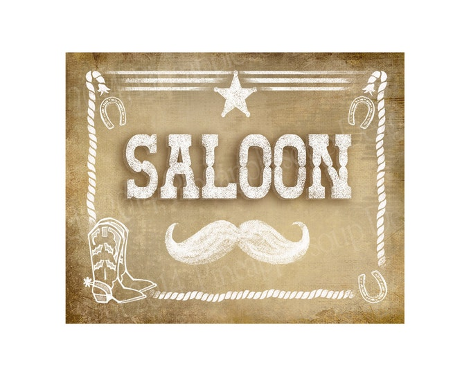 Western Themed Wedding Bar sign - SALOON - Vintage Style - PRINTABLE file  DIY Western Wedding signage