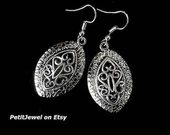 Bohemian Tribal Ethnic Earrings Dangle Earring, Oval Silver Gypsy Earrings Filigree Earrings, Gift For Her