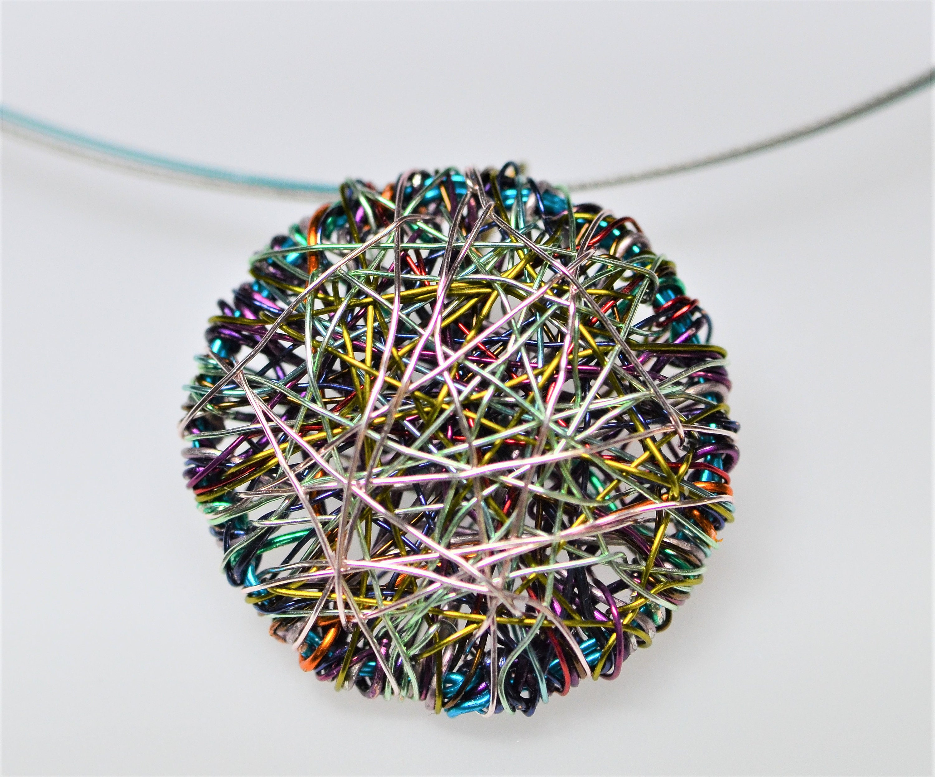 Round Necklace, Purple Turquoise, Wire Jewelry, Minimalist Art Necklace, Geometric,
