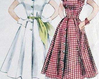 ON SALE Vintage 1950s  Half Size Dress Kimono Sleeves Flared Skirt Shaped Neckline Simplicity 3878 50s Rockabilly Sewing Pattern Size 18.5 B