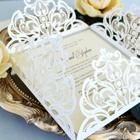 SQUARE Ivory Laser Cut Wrap Invitation - Square Laser Cut Wedding Invitation with Glitter Border and Belly Band - 4 Flap Fold Invitation