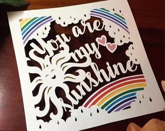 You Are My Sunshine Papercut DIY Template Paper Panda