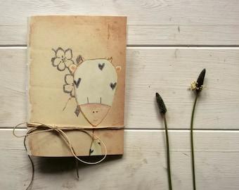 funny cow pocket journal blank notebook -  hand  binding travel Journal - flowers