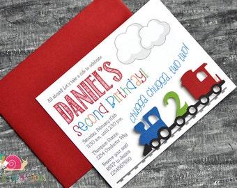 Train Invitations · A2 FLAT · Red Blue Green · Birthday Party | Choo Choo Train | All Aboard
