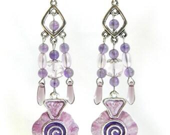 """Earrings """"Purple"""", frame 925 Silver hook, unique, handmade"""