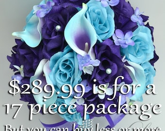 Wedding Bouquet, Bridal Bouquet, Flower Bouquet, Wedding Flowers, Silk Bouquet, Turquoise, Malibu, Purple, 17 Piece Package, Lily of Angeles