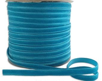 5 Yards Velvet Ribbon Trim Turquoise  1/4 Inch Wide  VR200-TQ
