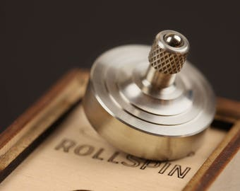 Fidget toy RollSpin (Kickstarter) ~ Precision spinning top & anti-stress ball  ~ Metal Spinning Top ~ EDC gadget ~ Aluminium top ~