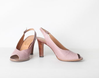 Vintage Size 6.5 Women's Pink Reptile Sling Back Peep Toe  Lord + Taylor Heels, Wedding Shoes