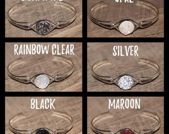 Silver Druzy Cuff Bracelet
