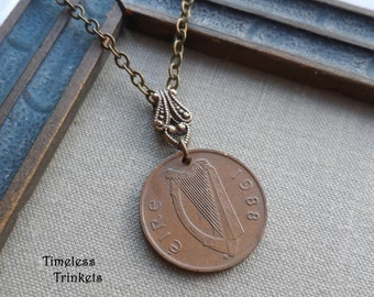 A Pence for Your Thoughts, Reversible Irish Vintage Coin Necklace, 1988, Harp and Ornamental Bird