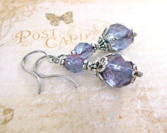 Purple Luster Earrings - Amethyst Luster Czech Fire Polished Bead Earrings - Antique Silver Victorian Earrings - Purple Bead Earrings