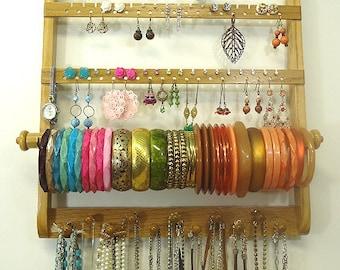 Earring Holder Bracelet Bangle, Elegant Necklace Organize, Jewelry Display, Gorgeous Oak Wood, Wall Mount, Honey Stained Hardwood, Bangle