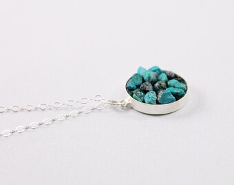 Real turquoise necklace sterling silver rough gemstone necklace, rough stone jewelry blue stone necklace genuine turquoise pendant