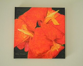 Red Cana Lily, acrylic flower painting, lily flower, tropical flower, floral home decor, red flower art, red flower painting, realism art