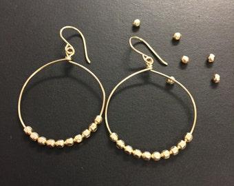 Gold Hoop Earrings, Gold Hoops, Beaded hoop earrings, available in sterling silver and mixed metal