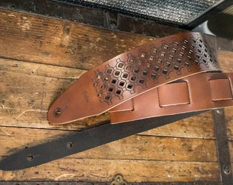 Strap for guitar and bass in real leather-Etabeta guitar Strap-art. Perforated START 1-Brown