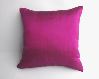 Magenta and blue shot  dupioni silk cushion cover throw pillow. decorative pillow. Can be customized custom made
