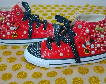 Minnie mouse converse,bling converse,Disney characters,custom converse